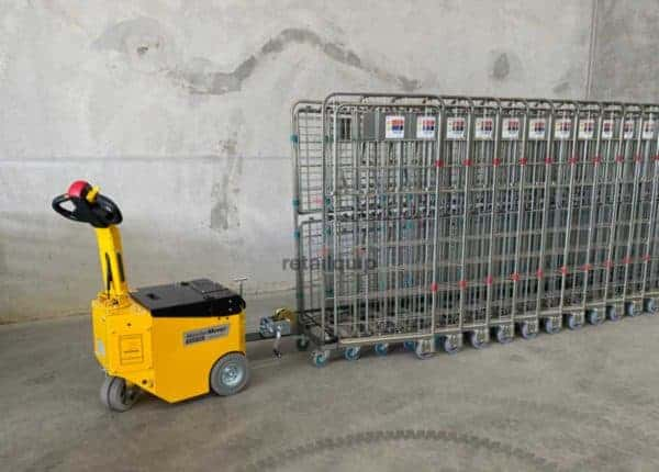 Tow Roll Cage Coupling for Nested Trolleys